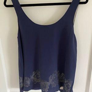 Joie 100% silk navy sleeveless blouse